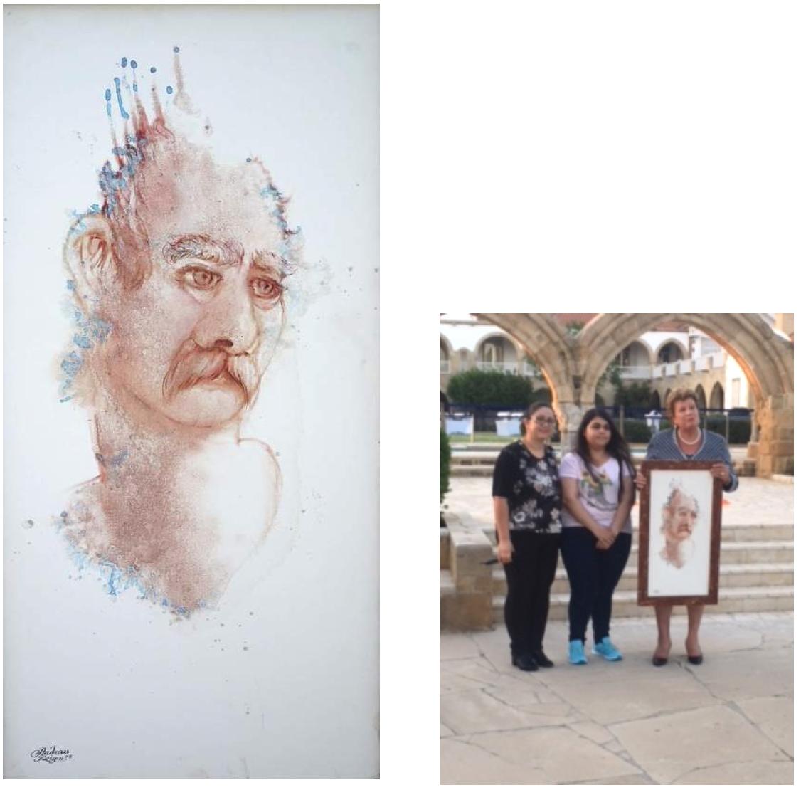 Η καρυκατούρα με την επωνυμία «Ήρωας» του καλλιτέχνη Ανδρέα Λοΐζου Νιού, που απεικονίζει τον Κύπριο πατέρα που αγωνίζεται να στηρίξει τον γιο του στην απεξάρτηση από τα ναρκωτικά, η οποία δωρίστηκε στην κα Άντρη Αναστασιάδη.